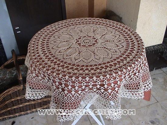 Joli patron gratuit nappe ronde crochet