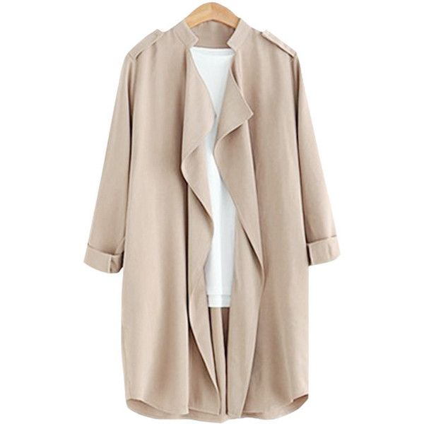 Yoins Khaki Roll Up Button Closure Open-front Lapel Collar Outerwear ($35) ❤ liked on Polyvore featuring outerwear, coats, jackets, apricot, drape coat, khaki coat, lapel coat, wool coat and open front coat