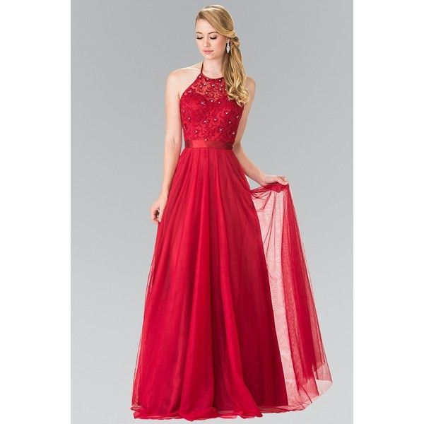 Elizabeth K GL1475 Embroidered Halter Bodice Floor Length Dress in... ($138) ❤ liked on Polyvore featuring dresses, gowns, halter top prom dresses, red evening gowns, open back prom dresses, red dress and red halter top