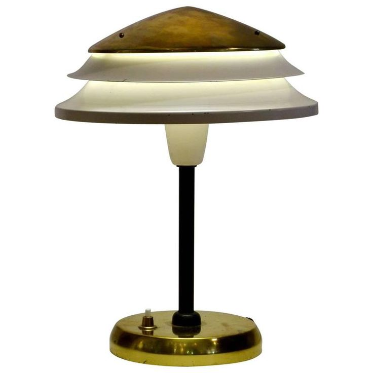 Modernist Czech, 1950s Cream and Brass Desk Lamp | From a unique collection of antique and modern table lamps at https://www.1stdibs.com/furniture/lighting/table-lamps/