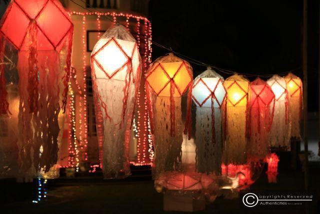 Colourful vesak lanterns lighting up the evening in