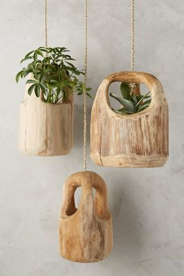 Anthropologie Teak Wood Hanging Planter