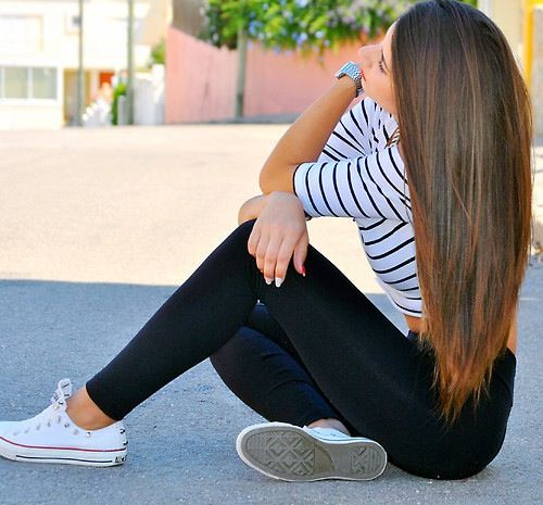 striped half sleeve crop top with tights/ leggings, converse. I love her hair.