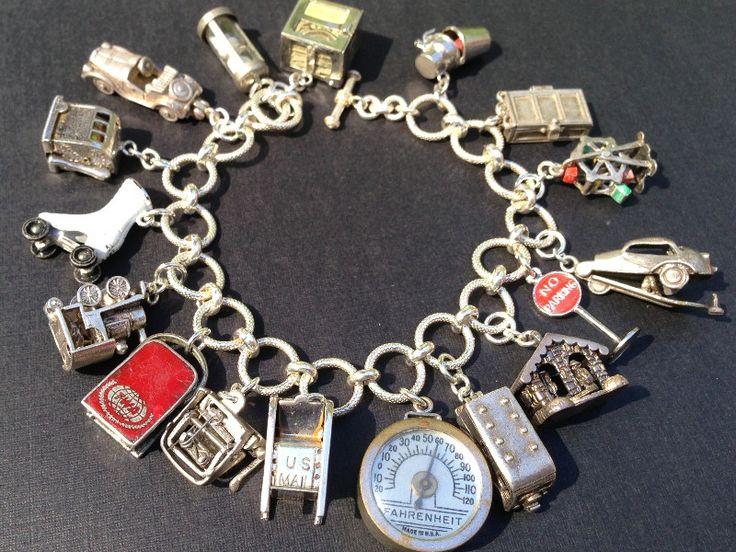Vintage Charm Bracelet Collection - Articulated Movers & Shakers Silver & Enamel Charm Bracelet