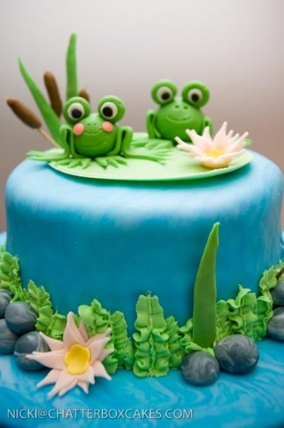 """Congrats on the new pad"" frogs housewarming cake"