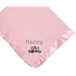 Girl Power Pink Soft Fleece Embroidered Personalized Baby Blanket - Custom Embroidery Hot Pink Thread