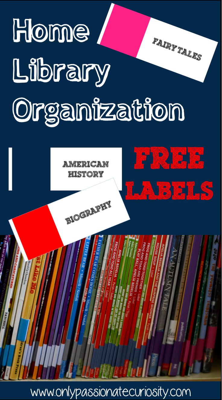 Free Home Library Organization printables- color and image coded for even the youngest children