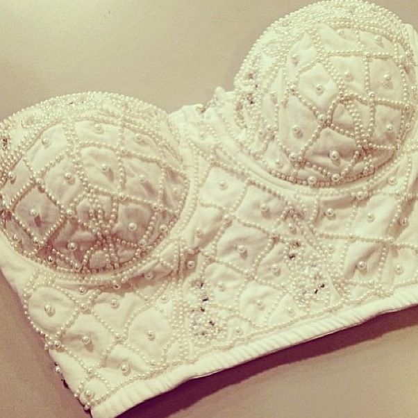 Summer Outfit - Beaded Strapless Crop Top - LOVE ❤︎