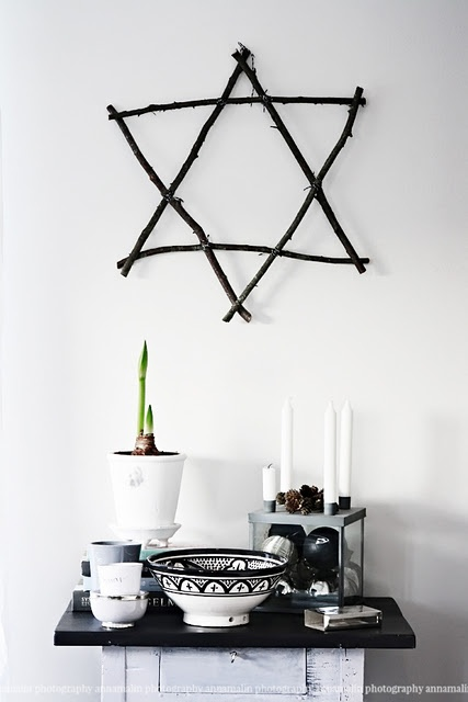 Wooden star of David hanging for holiday decor