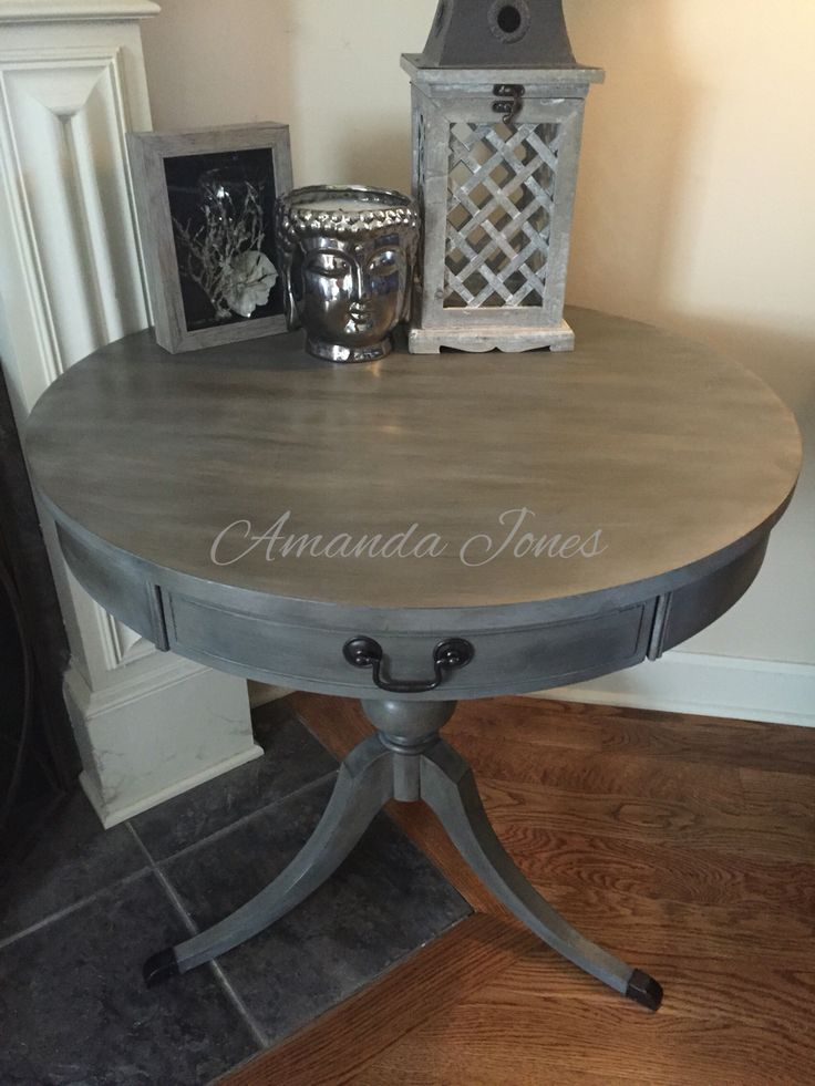 Custom mix of Graphite and French Linen with white wax, a French Linen wash and dark wax.