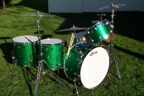 John Bonham Green Sparkle Ludwig Drum Set Kit