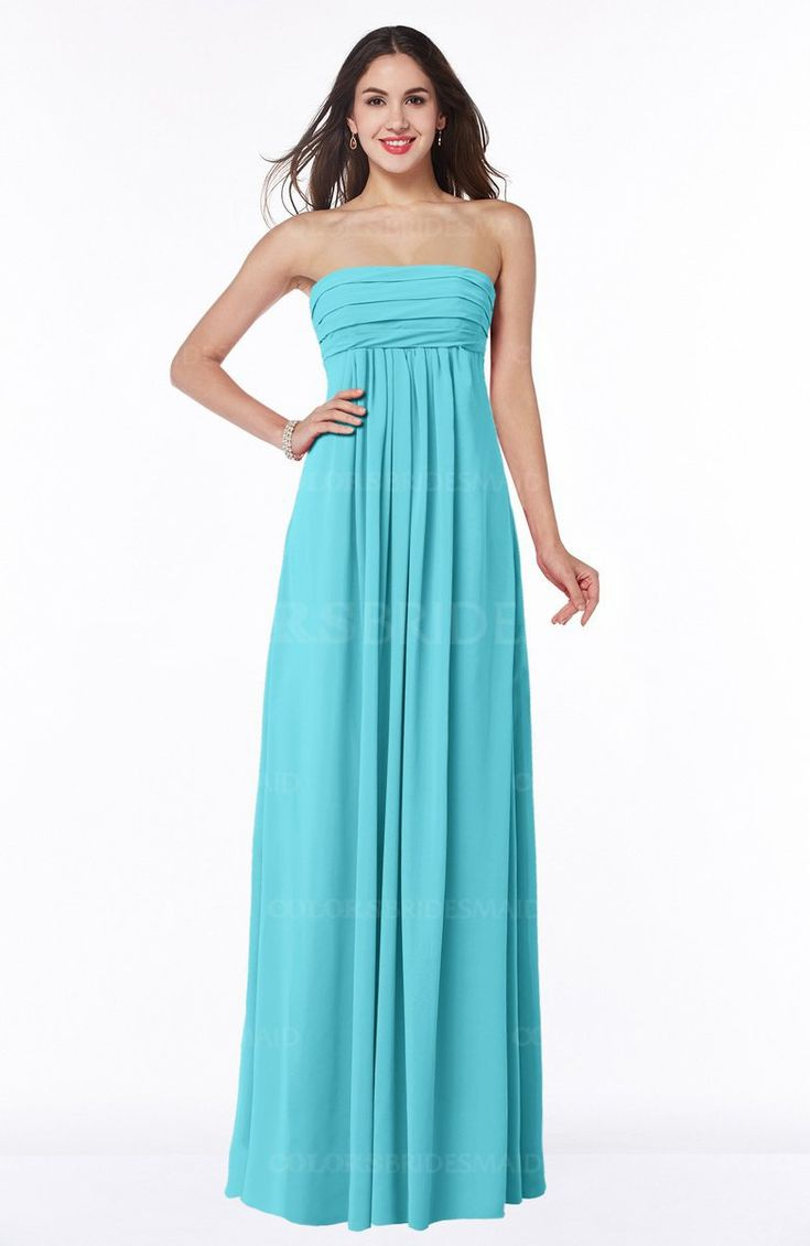 Turquoise Romantic Empire Sleeveless Backless Floor Length Plus Size Bridesmaid Dresses (Style D54892)
