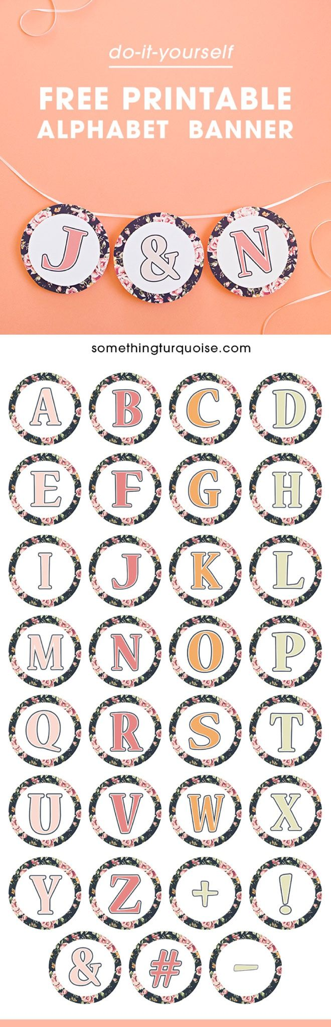 Gorgeous, FREE printable floral alphabet banner! #craftywithcanon