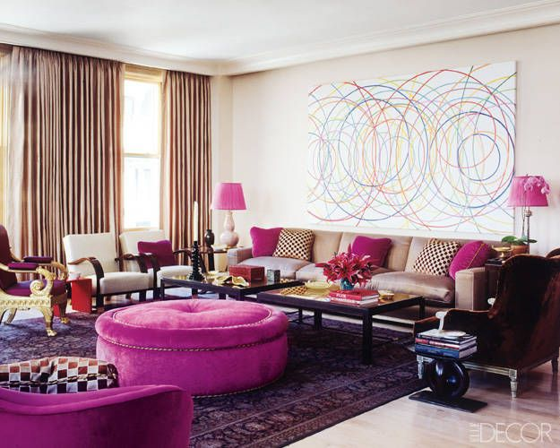 Jamie Drake living room with pink highlights