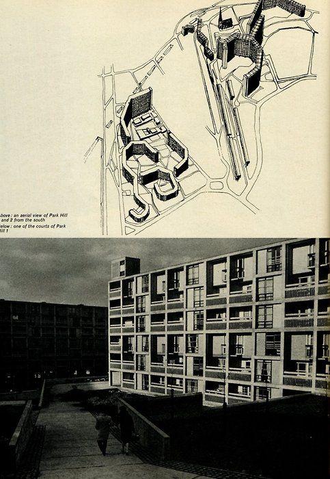 JACK LYNN + IVOR SMITH  PARK HILL FLATS, SHEFFIELD UK 1957-61  Smithsons's Golden Lane meets Corbu's Unité.Beautiful brutalism and a clash of scales - bulk versus façades.  >more