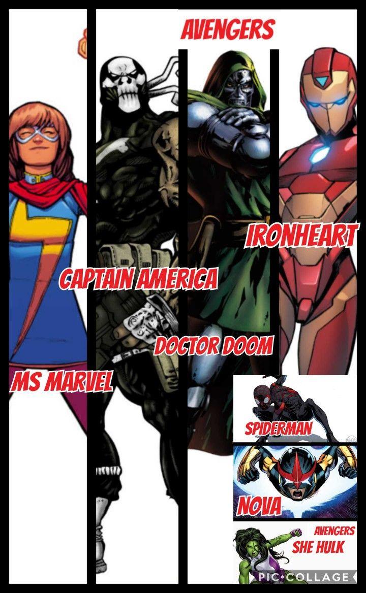 My take on all new all different avengers. From left: ms marvel (kamala khan), captain america (brock rumlow), doctor doom (victor von doom), iron heart (riri wiliams), spiderman (miles morales), nova (sam alexander) and she-hulk (jenifer walters)