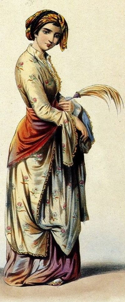 Armenian lady of Constantinople. Late-Ottoman era, 1850, from the European lithography, by Janeta Lanzh (publication, Eugéne Flanding).