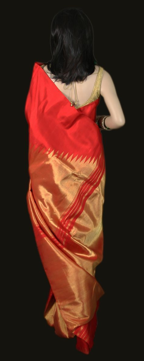 Red Kanjeevaram Saree with Rising Zari Gold Border