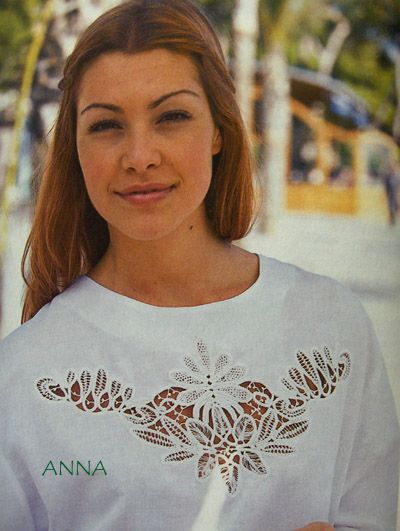 Romanian Point Lace crochet blouse insertion from Anna Burda magazine