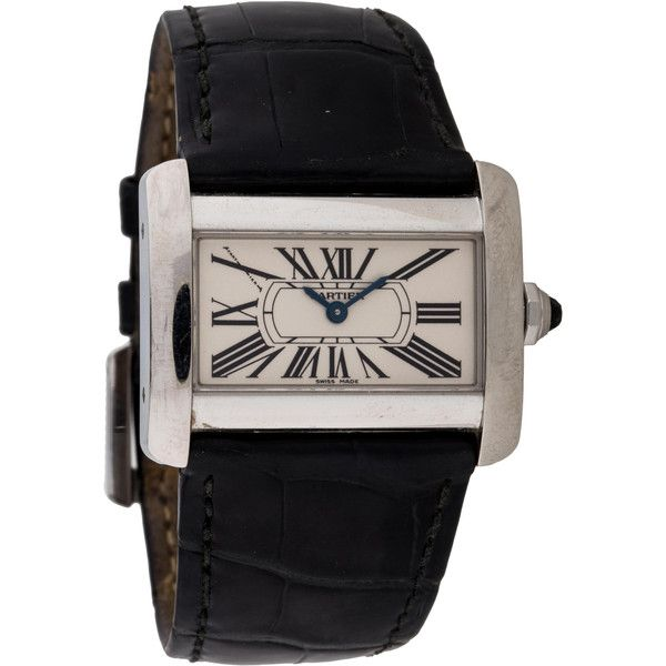 Pre-owned Cartier Tank Divan Watch ($1,195) ❤ liked on Polyvore featuring jewelry, watches, preowned jewelry, stainless steel watches, bezel watches, roman numeral watches e cartier jewellery