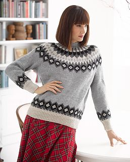 This Fair Isle sweater is perfect for lounging in front of the fireplace after a day of skiing. (Lion Brand Yarn)