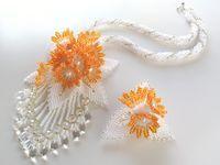 オレンジ小花のドロップネックレス