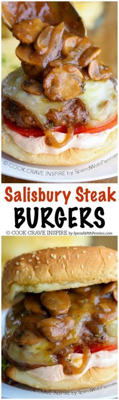 My family LOVES this recipe!! Salisbury Steak Burgers are loaded with mushrooms, onions and gravy! This easy weeknight meal uses just one pan and is one of our favorite ground beef recipes!
