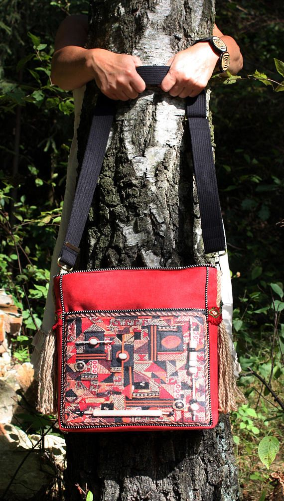 Ethnic pattern red crossbody bag eco friendly red
