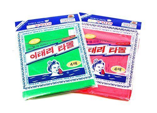 8Pcs asiático Exfoliante-Manopla de baño, color rojo y verde