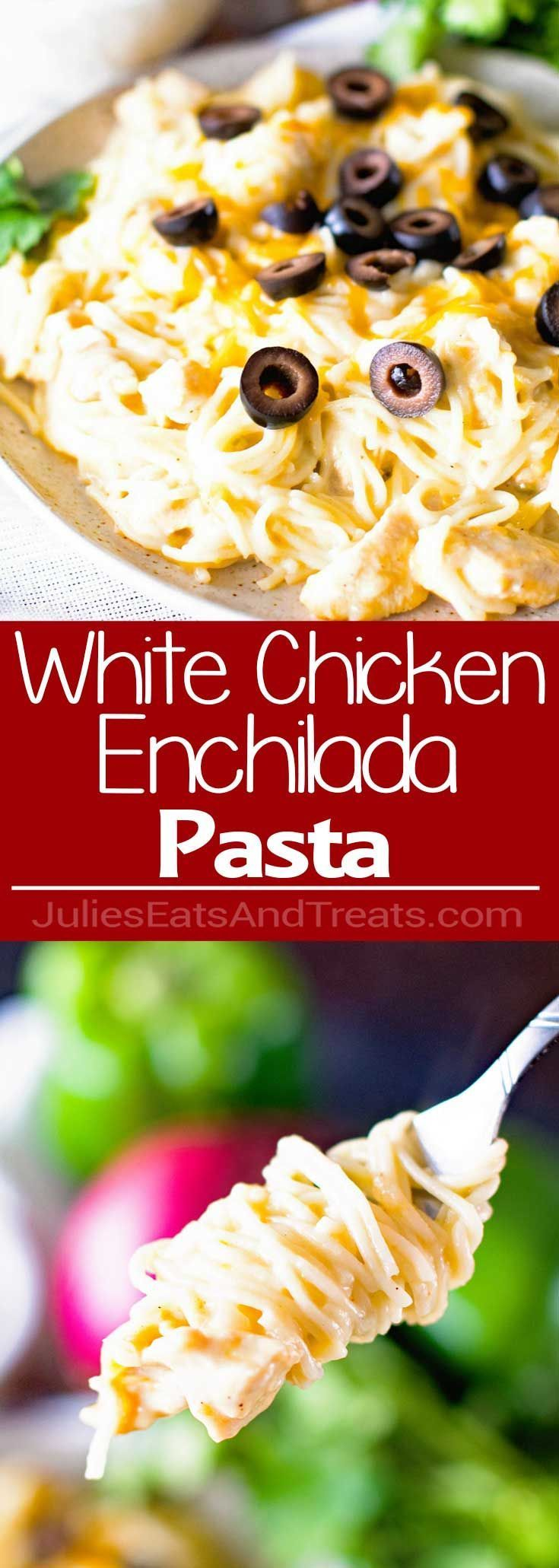 White Chicken Enchilada Pasta Recipe - A delicious pasta filled with all the wonderful flavor of white chicken enchiladas with the help of green chilies, a little sour cream, and melted jack cheese! via @julieseats