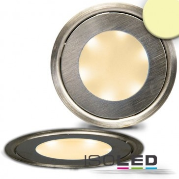 "LED Bodenstrahler ""SLIM"", rund, IP54, edelstahl, warmweiß / LED24-LED Shop"