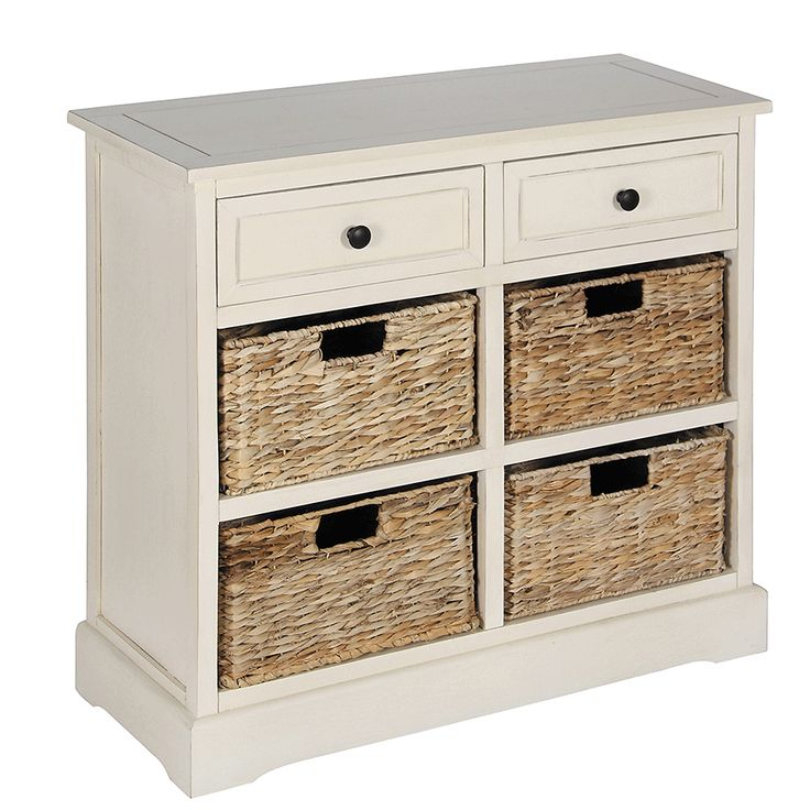 Cream Wooden Drawers and 4 Basket Hallway Storage Unit