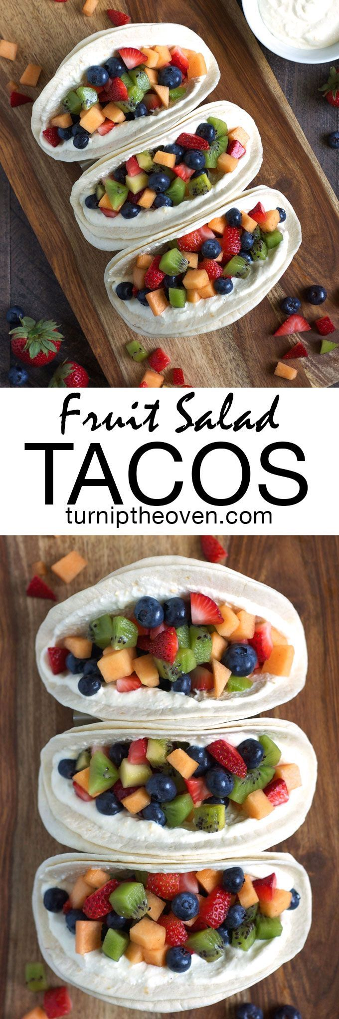 Fit more protein, calcium, and fresh fruit into your morning routine with these easy, healthy breakfast tacos slathered with honey whipped cottage cheese and piled high with fruit salad.