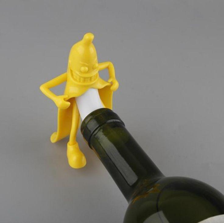 2017 Mr.Banana Creative Soda Wine Bottle Novelty Stopper Corkscrews Bar Tool Wine Beer Bottle Cork Stopper Bar Novely Gift