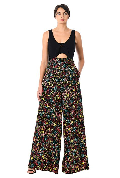 31992b45bdb Cotton knit and floral print crepe palazzo jumpsuit-CL0058030 ...