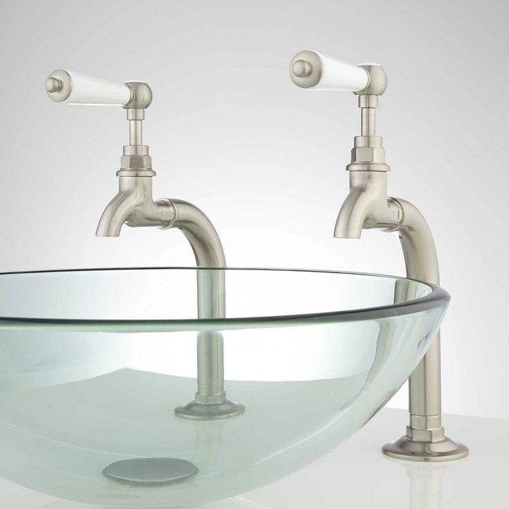 Romanova Bathroom Basin Taps with Porcelain Lever Handles & Pop-Up Drain