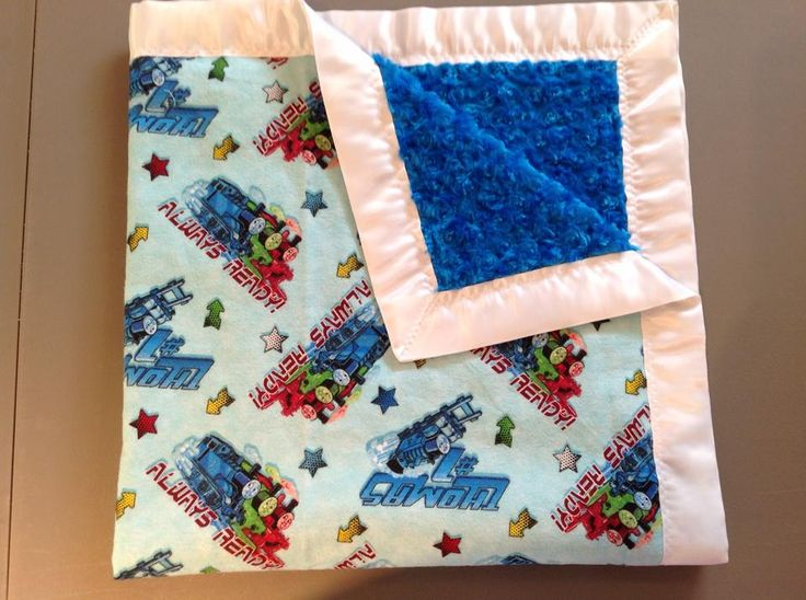 Thomas the Train blanket with blue rose and white trim 36x36""