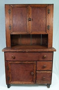 "Antique Primitive Folk Art Wooden Children's Cupboard | Approximate Size: 39"" x 23"" x 13 1/2"" 