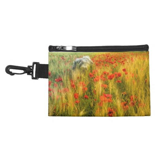 Clip On Accessory Bag Bearded collie in poppy field