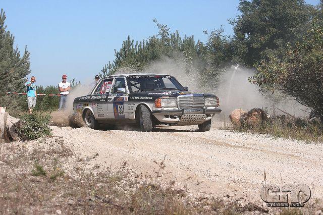Mercedes 280E rally car by eplusm of Flickr.com.