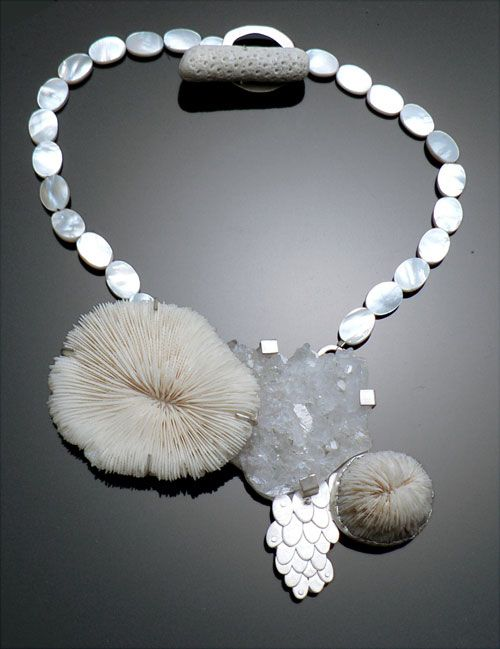 Leslie Shershow - Necklace: White Gems 2010  Silver, acrylic, quartz, coral, mother of pearl