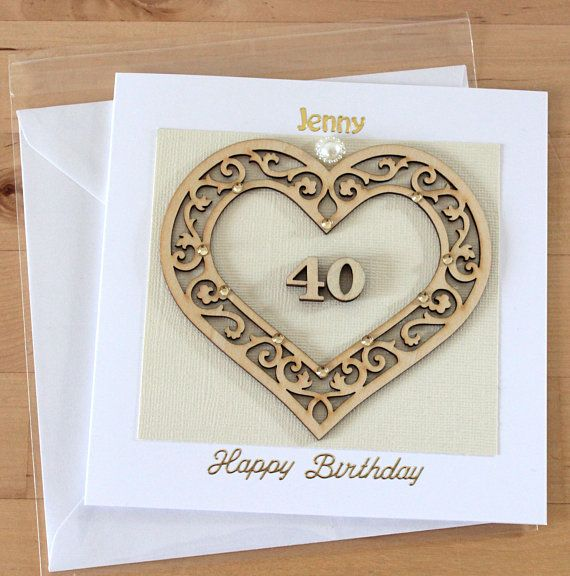 Luxury Unique Wooden Heart 21st 30th 40th 50th 60th 70th 80th 90th 100th Birthday Card Gift For Woman Personalised Her