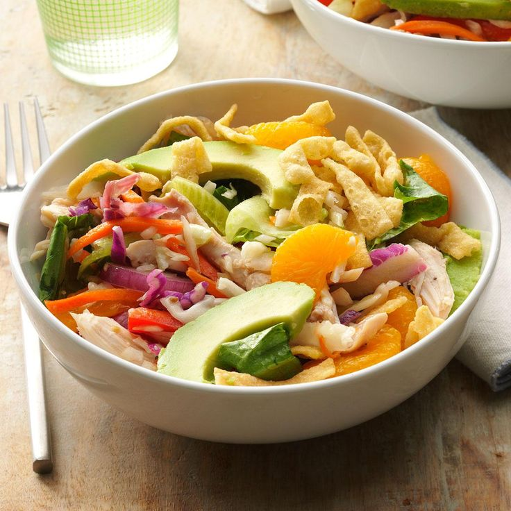 Sesame Chicken Slaw Salad Recipe -I tasted many types of Asian chicken salad in California. When I moved back to Georgia, I wanted more. Here's a gingery-sweet recipe using wonton strips. —Michelle Mulrain, Evans, Georgia