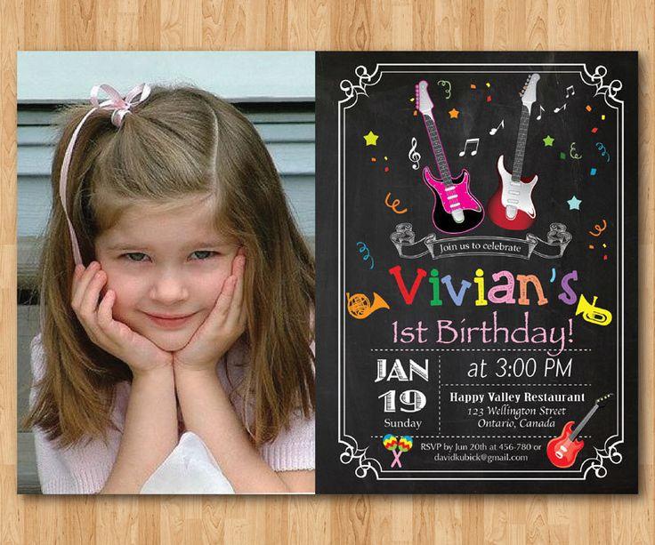 Music Birthday invitation with Photo. Rock Star Birthday Invitation. Girl Birthday Party Invite. Guitar. Chalkboard. Printable digital. by arthomer on Etsy https://www.etsy.com/listing/265347613/music-birthday-invitation-with-photo