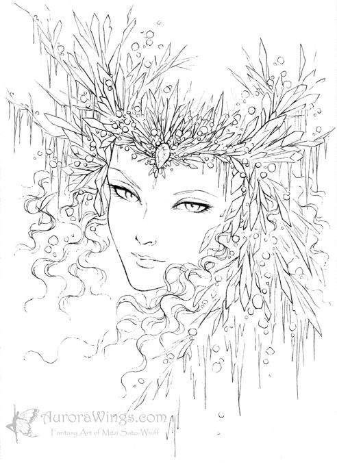 Snow queen inked by mitzi sato wiuff coloring pages colouring adult detailed advanced