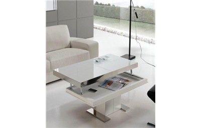 MESA DE CENTRO ELEVABLE MARY. Mesa de salón moderna con tapa a escoger de cristal o porcelánico y pie central lacado mate