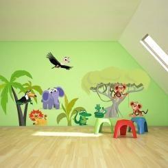 Kit Cameretta Jungle Giungla Wall Sticker Adesivo da Muro Componibile