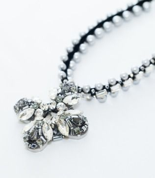 Grey Pearl Mixed Crystals Necklace