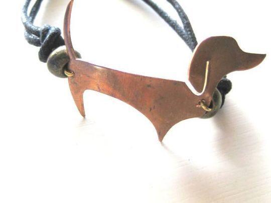 Dachshund Sausage Dog Vintage Copper Bracelet Custom made