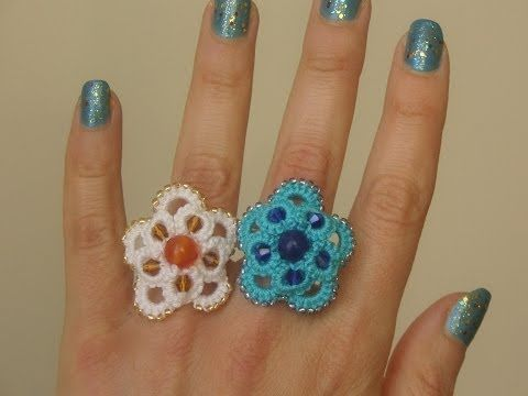 Ankars ring - nice on a hair pin too (or an earing with just one big ring and two small?)  22' TUTORIAL FACILE ANELLO ORECCHINI ANKARS CON PERLE CHIACCHIERINO AD AGO EASY RING NEEDLE TATTING - YouTube